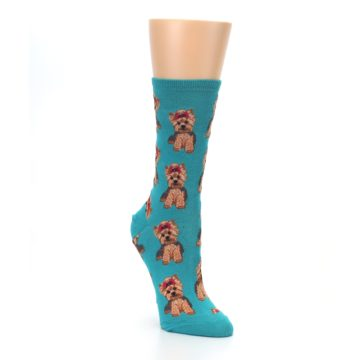 Image of Blue Yorkie Puppies Women's Dress Socks (side-1-front-02)