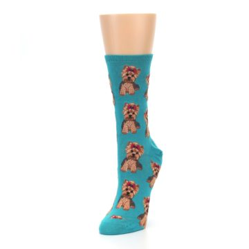 Image of Blue Yorkie Puppies Women's Dress Socks (side-2-front-08)