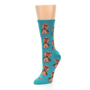 Image of Blue Yorkie Puppies Women's Dress Socks (side-2-09)