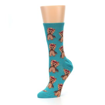 Image of Blue Yorkie Puppies Women's Dress Socks (side-2-10)