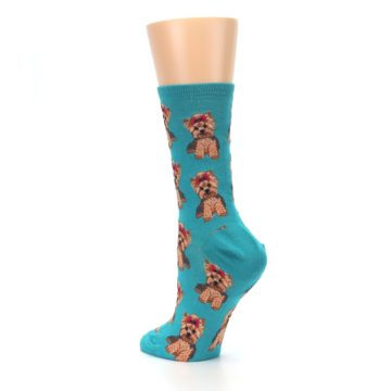 Image of Blue Yorkie Puppies Women's Dress Socks (side-2-back-15)