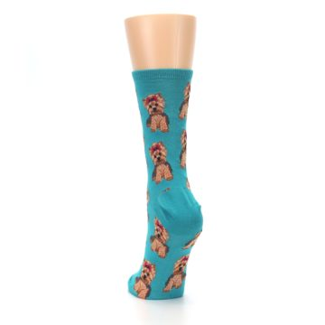 Image of Blue Yorkie Puppies Women's Dress Socks (back-17)