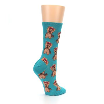 Image of Blue Yorkie Puppies Women's Dress Socks (side-1-23)