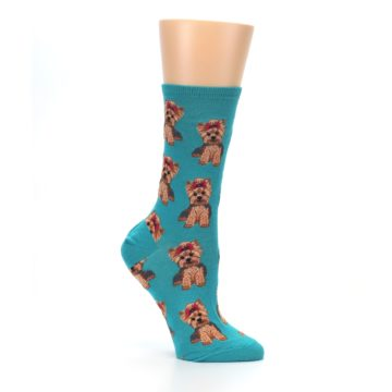 Image of Blue Yorkie Puppies Women's Dress Socks (side-1-26)