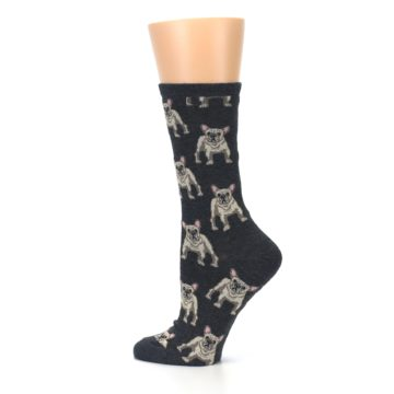 Image of Heather Gray Frenchie Dogs Women's Dress Socks (side-2-13)