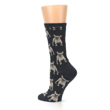 Image of Heather Gray Frenchie Dogs Women's Dress Socks (side-2-back-14)