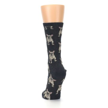Image of Heather Gray Frenchie Dogs Women's Dress Socks (back-17)