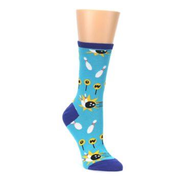 teal yellow black white bowling strike women's novelty socks socksmith