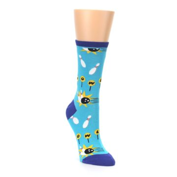 Image of Blue White Bowling Women's Dress Socks (side-1-front-02)