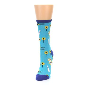 Image of Blue White Bowling Women's Dress Socks (side-2-front-07)