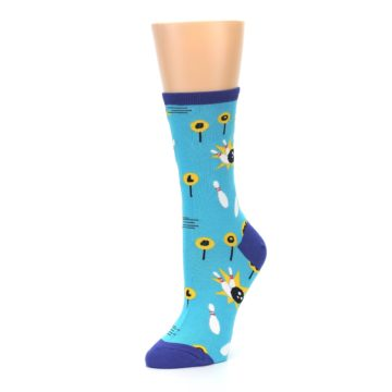 Image of Blue White Bowling Women's Dress Socks (side-2-09)