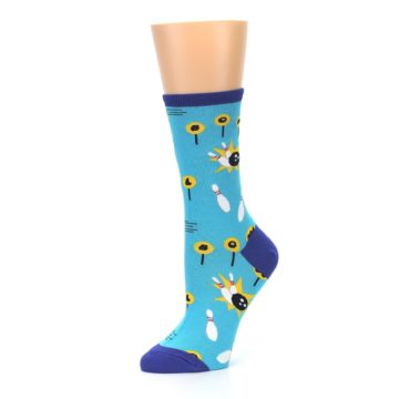 Image of Blue White Bowling Women's Dress Socks (side-2-10)