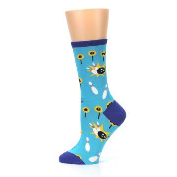 Image of Blue White Bowling Women's Dress Socks (side-2-12)