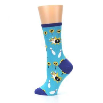 Image of Blue White Bowling Women's Dress Socks (side-2-13)