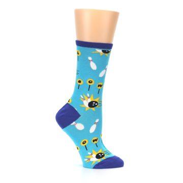 Image of Blue White Bowling Women's Dress Socks (side-1-25)