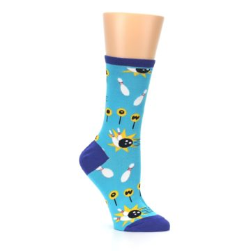 Image of Blue White Bowling Women's Dress Socks (side-1-26)