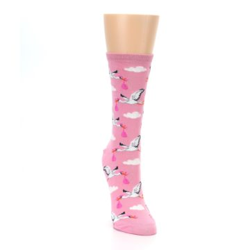 Image of Pink White Stork Delivery Women's Dress Socks (side-1-front-03)