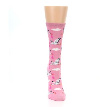 Image of Pink White Stork Delivery Women's Dress Socks (front-04)