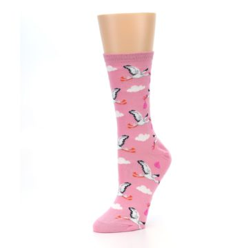 Image of Pink White Stork Delivery Women's Dress Socks (side-2-09)