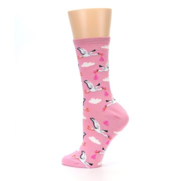 Image of Pink White Stork Delivery Women's Dress Socks (side-2-13)
