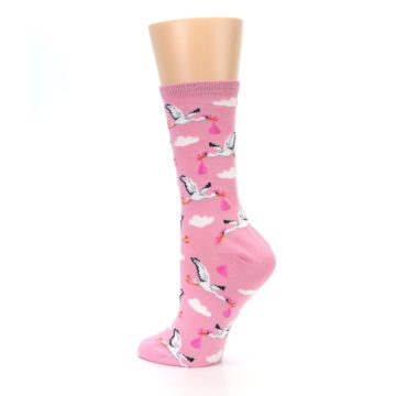 Image of Pink White Stork Delivery Women's Dress Socks (side-2-back-14)