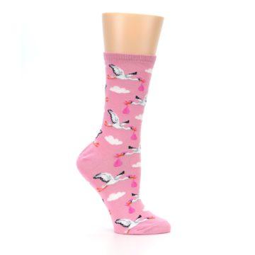 Image of Pink White Stork Delivery Women's Dress Socks (side-1-25)