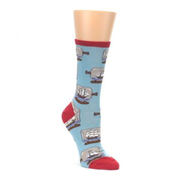 Image of Blue Ship in a Bottle Women's Dress Socks (side-1-front-01)