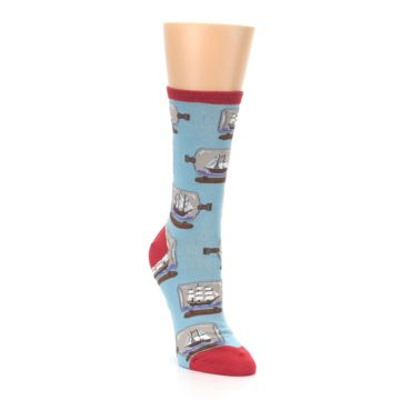 Image of Blue Ship in a Bottle Women's Dress Socks (side-1-front-02)