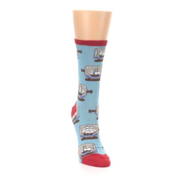 Image of Blue Ship in a Bottle Women's Dress Socks (side-1-front-03)