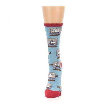 Image of Blue Ship in a Bottle Women's Dress Socks (side-2-front-06)
