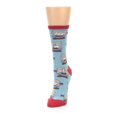 Image of Blue Ship in a Bottle Women's Dress Socks (side-2-front-07)