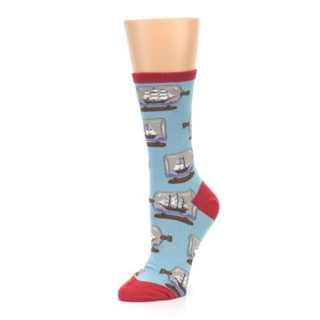 Image of Blue Ship in a Bottle Women's Dress Socks (side-2-09)