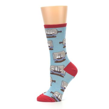 Image of Blue Ship in a Bottle Women's Dress Socks (side-2-11)