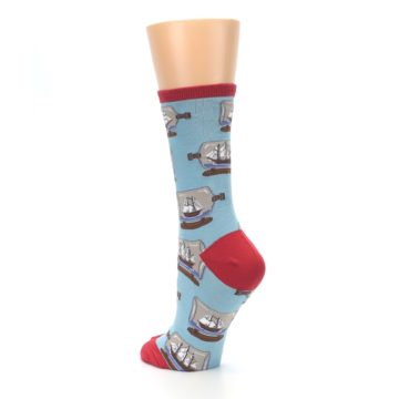 Image of Blue Ship in a Bottle Women's Dress Socks (side-2-back-15)