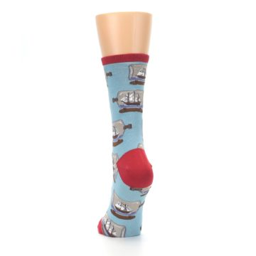 Image of Blue Ship in a Bottle Women's Dress Socks (back-17)