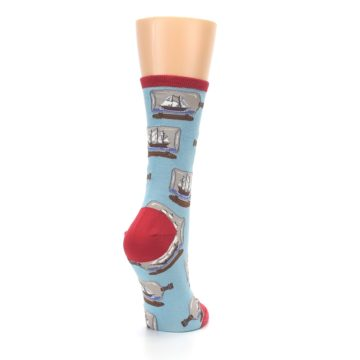 Image of Blue Ship in a Bottle Women's Dress Socks (side-1-back-21)