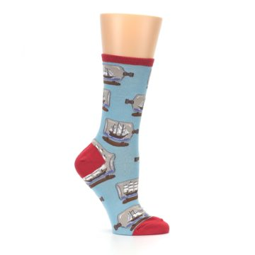Image of Blue Ship in a Bottle Women's Dress Socks (side-1-25)