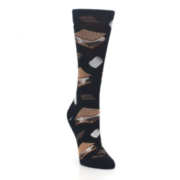 Image of Black Brown S'mores Women's Dress Socks (side-1-front-02)