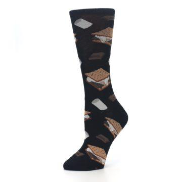 Image of Black Brown S'mores Women's Dress Socks (side-2-10)