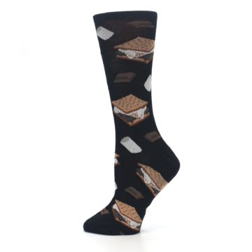 Image of Black Brown S'mores Women's Dress Socks (side-2-12)
