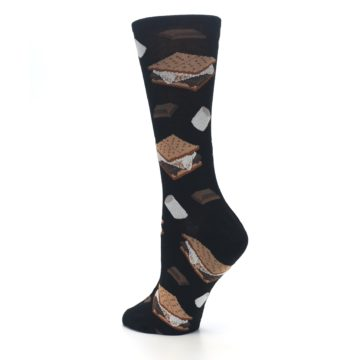 Image of Black Brown S'mores Women's Dress Socks (side-2-back-14)