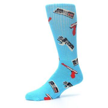 Image of Blue Retro Gamer Men's Casual Socks (side-2-10)