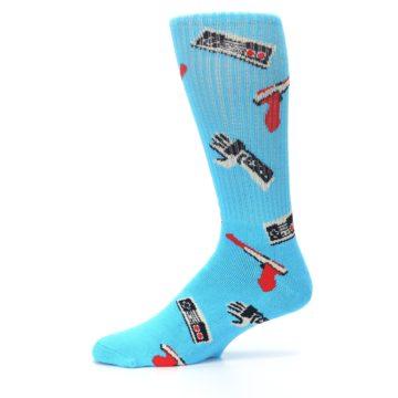 Image of Blue Retro Gamer Men's Casual Socks (side-2-11)