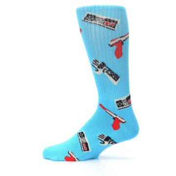 Image of Blue Retro Gamer Men's Casual Socks (side-2-12)