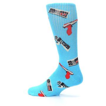 Image of Blue Retro Gamer Men's Casual Socks (side-2-13)