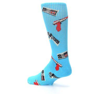 Image of Blue Retro Gamer Men's Casual Socks (side-2-back-14)