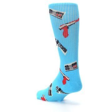 Image of Blue Retro Gamer Men's Casual Socks (side-2-back-15)