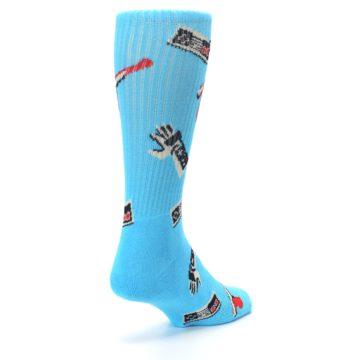 Image of Blue Retro Gamer Men's Casual Socks (side-1-back-21)