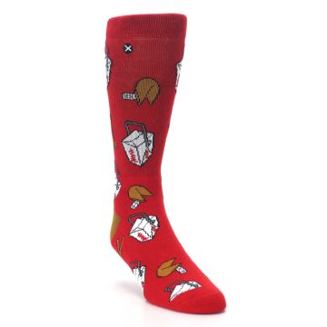Image of Red Chinese Take Out Food Men's Casual Socks (side-1-front-02)