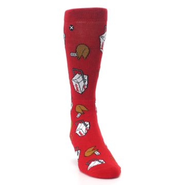 Image of Red Chinese Take Out Food Men's Casual Socks (side-1-front-03)